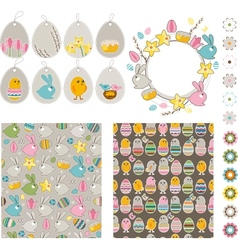 Big easdter collection with chickens and rabbits vector