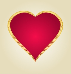 Gold frame in the shape of heart vintage vector