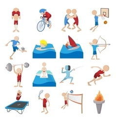 Summer sport cartoon icons set vector