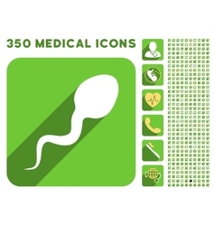 Spermatozoon icon and medical longshadow icon set vector