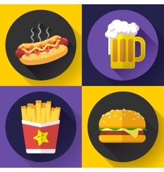 Set of fast food menu and beer icons flat design vector
