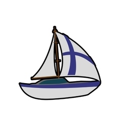 Sailboat icon finland design graphic vector