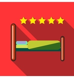 Night in 5 star hotel icon flat style vector