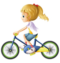 A young lady biking vector image