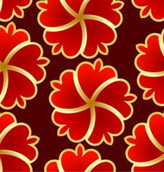 Abstract seamless texture with red gold flower vector