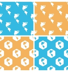 American continents pattern set colored vector