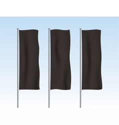 Black vertical banner flags on a sky background vector