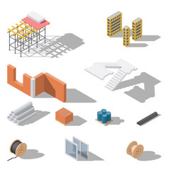 building elements isometric icon set vector image vector image