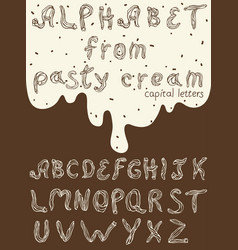 capital english letters from pastry cream vector image