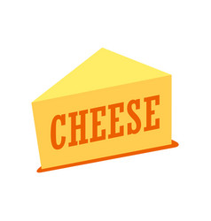 Cheddar cheese piece isolated on vector