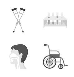 Crutch tripod with test tubes wheelchair human vector