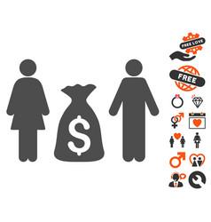 Family money deposit icon with valentine bonus vector