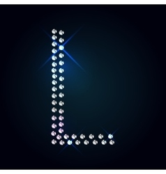 Gems l letter shiny diamond font vector