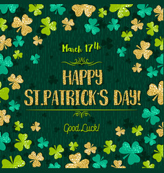 Green card for patricks day with golden shamrock vector