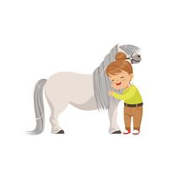 Lovely little girl hugging pony horse kid taking vector