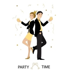 Party time line art vector image vector image