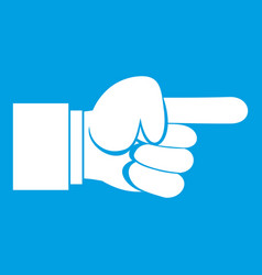 Pointing hand gesture icon white vector