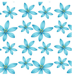Seamless background design with blue flowers vector