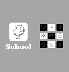 set line icons in flat design education school vector image vector image