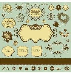 Set of engraving elements vector image vector image