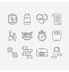 Set of line icons for personal trainer vector