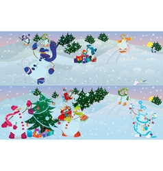 Snowmen living in magic forest morning vector image vector image