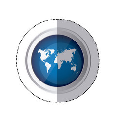 sticker blue circular button with silhouette world vector image