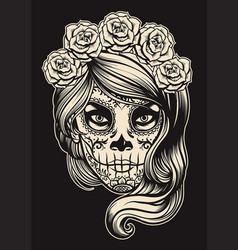 sugar skull girl vector image