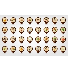 Thanksgiving harvest mapping pin icon set vector