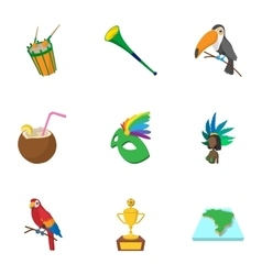 Tourism in brazil icons set cartoon style vector