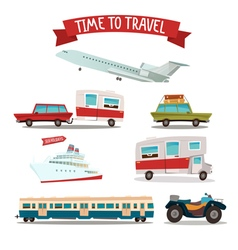 Travel Transportation Set Camper and Car Train vector image vector image