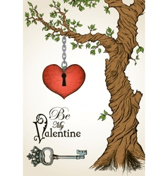 Valentine card with a heart hanging on tree and vector image vector image