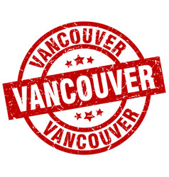 Vancouver red round grunge stamp vector