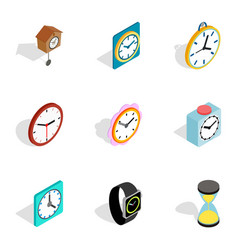 Watches icons isometric 3d style vector