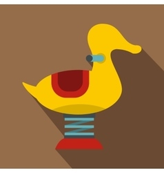 Yellow duck spring see saw icon flat style vector