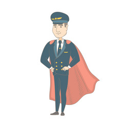 Young caucasian pilot dressed as superhero vector