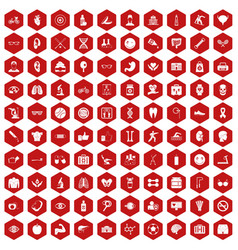 100 health icons hexagon red vector