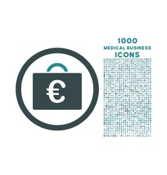 Euro bookkeeping case rounded icon with 1000 bonus vector