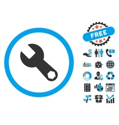 Wrench flat icon with bonus vector