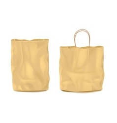 Two isolated empty paper bags set vector