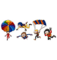 Sticker set with people playing air sports vector