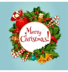 Merry christmas greeting card or poster design vector