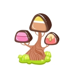 Tree with chocolate trunk and chocolate candy vector