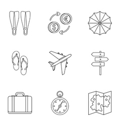 Journey to sea icons set outline style vector