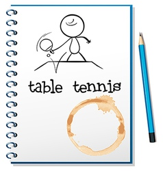 A notebook with a sketch of a person playing table vector image