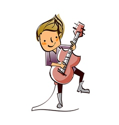 Close-up of boy holding guitar vector
