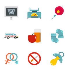 Babby clinic icons set flat style vector