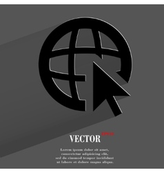 globe Flat modern web button with long shadow and vector image