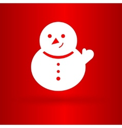 Nice snowman on the red background vector
