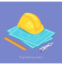 3d isometric concept of engineering project vector